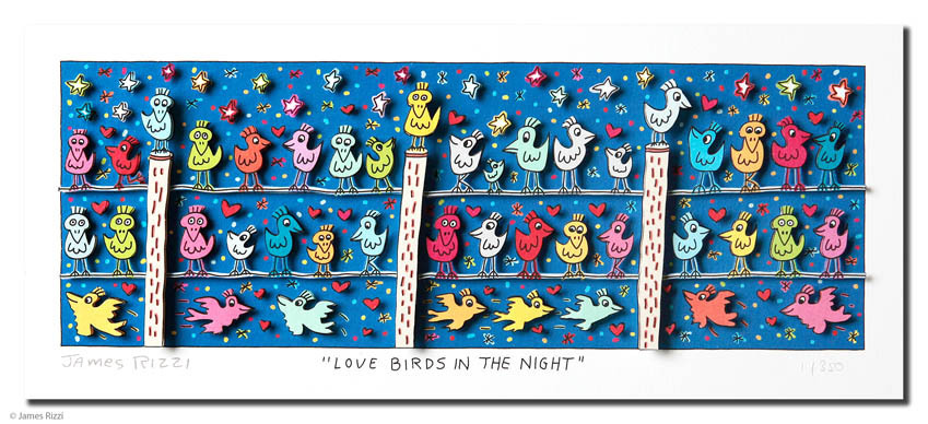 James Rizzi - LOVE BIRDS IN THE NIGHT
